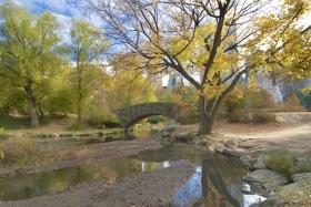 The Stunning Gapstow Bridge On A Quiet Autumn Day In Central Park