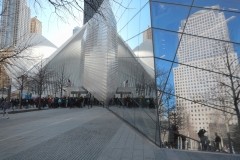 Oculus Transit Hub Reflected In 9-11 Memorial Museum's Glass Facade