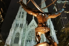 Beautiful St. Patrick's Cathedral Across Street From Statue Of Atlas