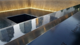 Reflecting Absence Memorial Pool Illuminated At Dusk