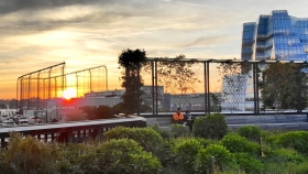 Sunset From High Line Looking West Thru The Vegetal Wall To Chelsea Piers, IAC Building & Hudson River