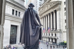 View Of NYSE From Back of John Qunicy Adams Ward's Bronze Statue Of George Washington, Federal Hall National Memorial
